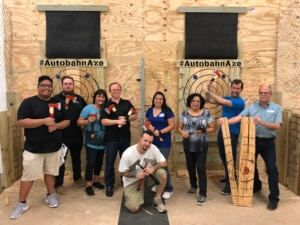 group enjoying axe throwing in Birmingham