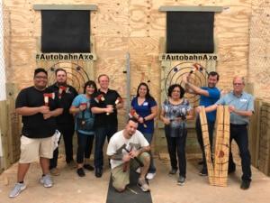 group enjoying axe throwing in Birmingham