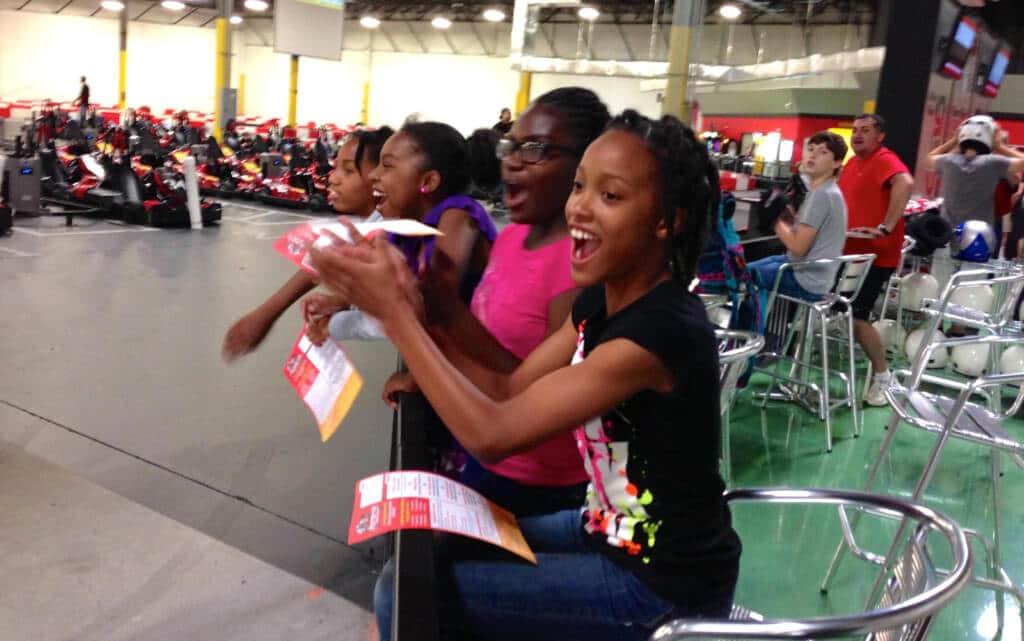 Children having fun racing